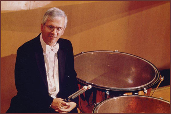 Timpanist Tom Akins on-stage with the Indianapolis Symphony Orchestra
